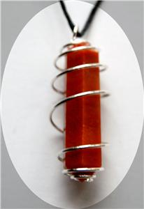 Double Terminated Orange Agate Pendant in Spiral Metal Chakra Crystals