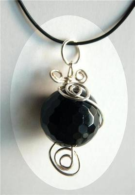 Beautiful Onyx Sphere Crystal Wrap Pendant - Protective OS34 - Bargain Clea