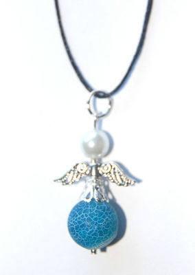 Pretty Blue Dragon Veins Agate Crystal Angel Pendant Eliminate Negativity