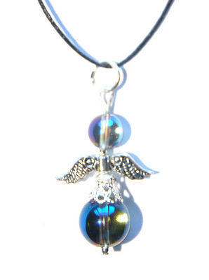 Pretty Celstial Blue Aura Quartz Guardian Angel Crystal Pendant = Joy