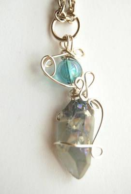 Small Celestial & Aqua Aura Wrap Crystal Pendulum / Pendant CA18