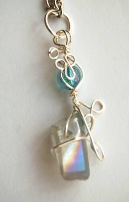 Small Celestial & Aqua Aura Wrap Crystal Pendulum / Pendant CA19