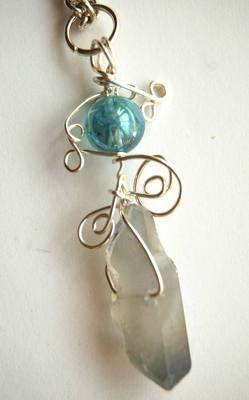 Small Celestial & Aqua Aura Wrap Crystal Pendulum / Pendant CA25