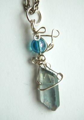 Small Celestial & Aqua Aura Wrap Crystal Pendulum / Pendant CA29