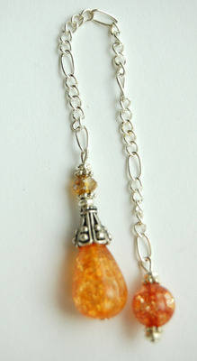 D34 Sweet Orange Crackle Quartz Handcrafted Crystal Dowsing Pendulum