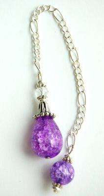 D48 Sweet Violet Crackle Quartz Handcrafted Crystal Dowsing Pendulum