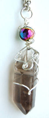 Silver Tone Wrap Rugged Smokey Quartz & Rainbow Aura Crystal Point Pendant