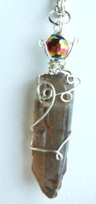 Silver Tone Wrap Rugged Smokey Quartz & Rainbow Aura Crystal Point Pendant