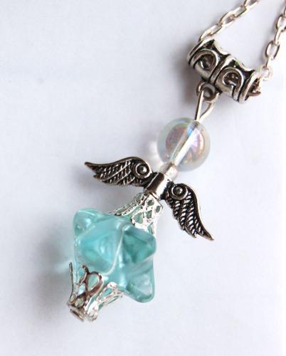 Amazing Blue Obsidian Glass Merkaba & Angel Aura Bead Crystal Angel Pendant