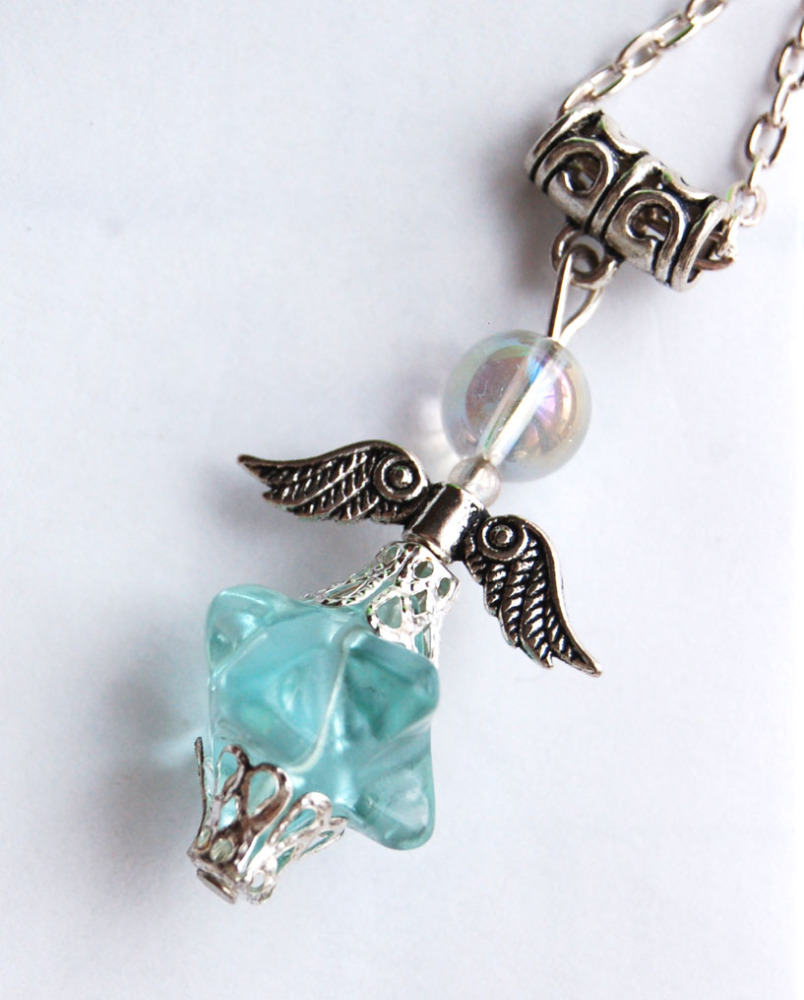 Amazing Blue Obsidian Glass Merkaba & Angel Aura Bead Crystal Angel Pendant - BG8 Bargain Clearance