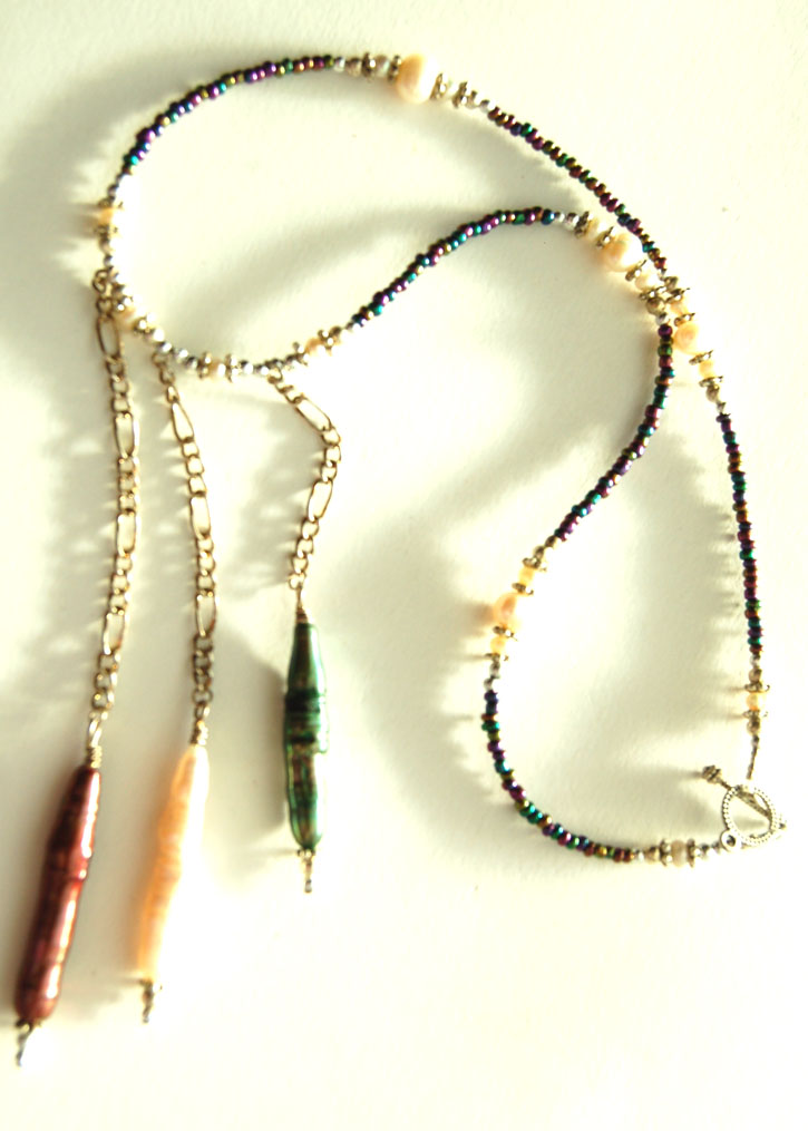 Biwa Pearls, Freshwater Pearls Crystal Necklace Handcrafted N33