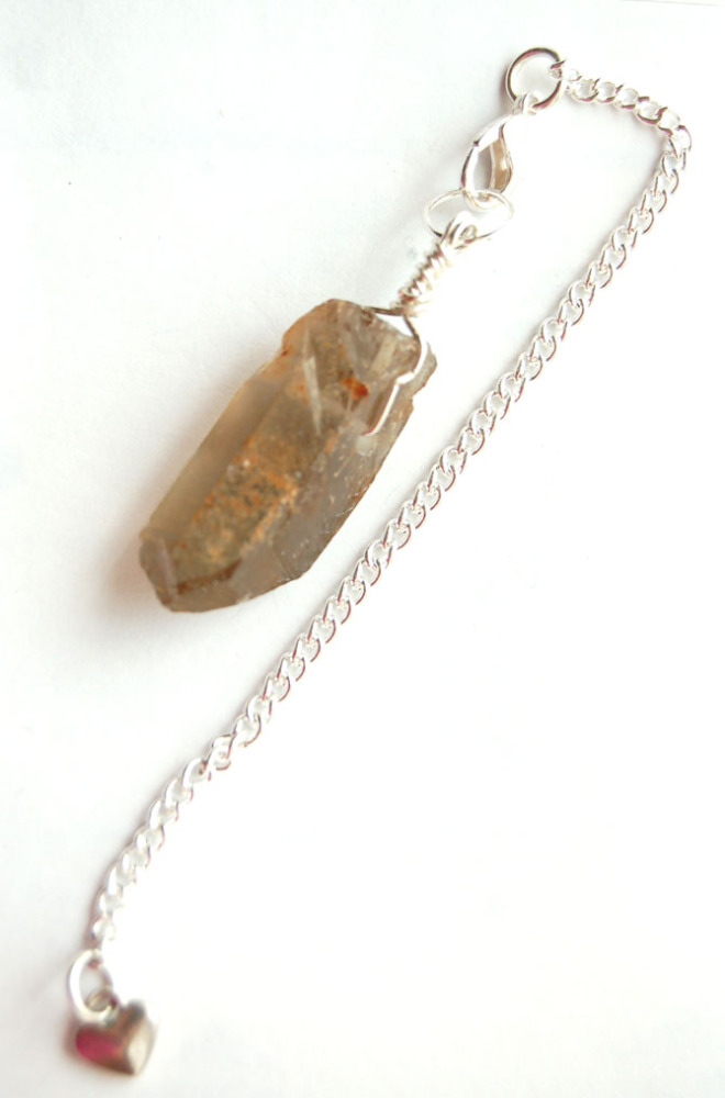 Silver Tone Wrap Rugged Smokey Quartz Crystal Point Pendulum PP10