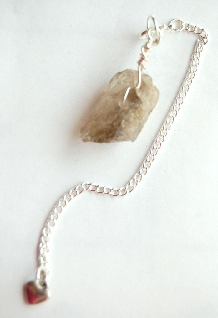 Silver Tone Wrap Rugged Smokey Quartz Crystal Point Pendulum PP11