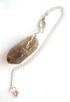 Silver Tone Wrap Rugged Smokey Quartz Crystal Point Pendulum PP12