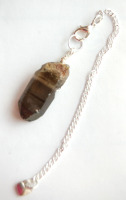 Silver Tone Wrap Rugged Smokey Quartz Crystal Point Pendulum PP1