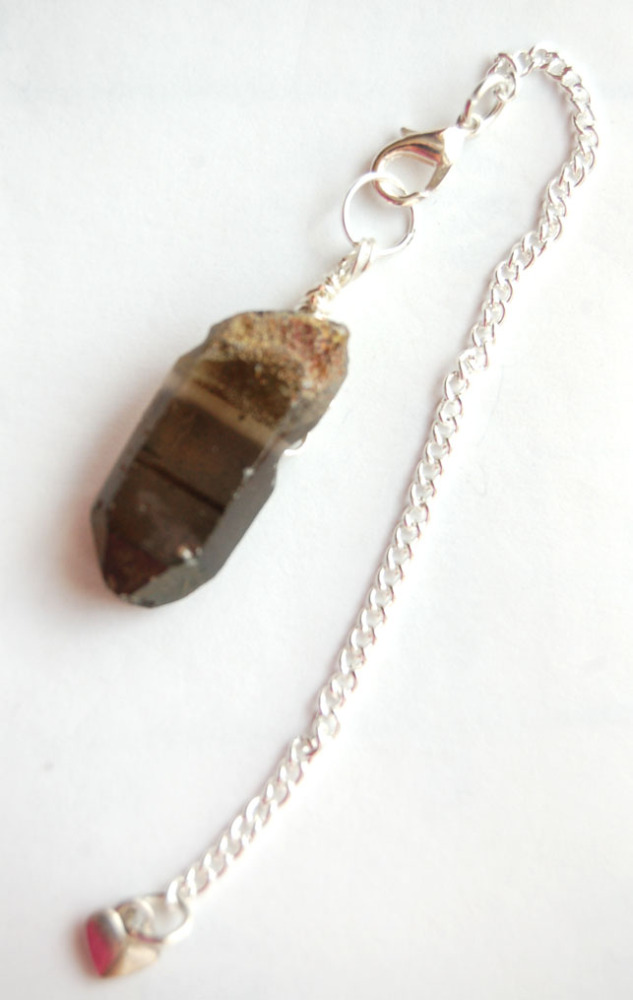 Silver Tone Wrap Rugged Smokey Quartz Crystal Point Pendulum PP1