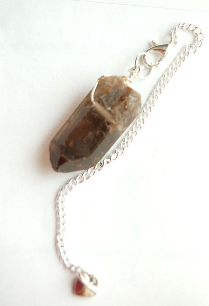 Silver Tone Wrap Rugged Smokey Quartz Crystal Point Pendulum PP6