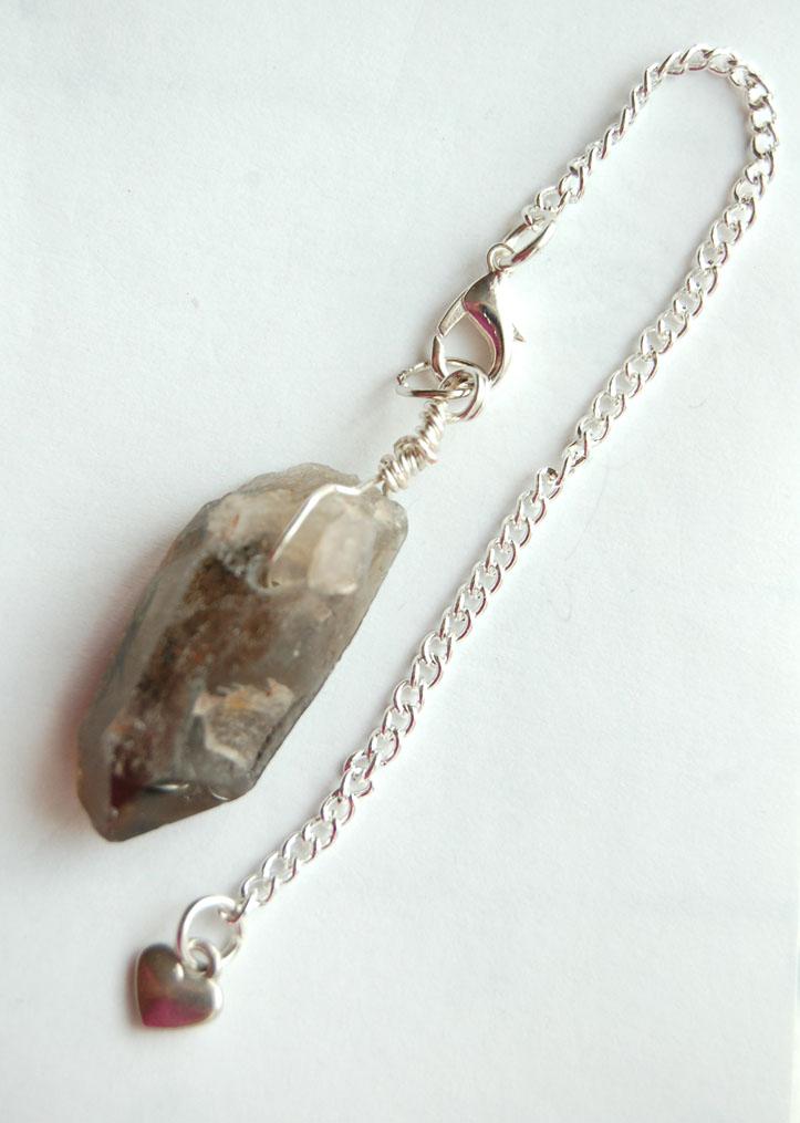 Silver Tone Wrap Rugged Smokey Quartz Crystal Point Pendulum PP7