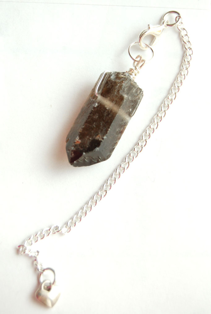 Silver Tone Wrap Rugged Smokey Quartz Crystal Point Pendulum PP8