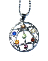 Pretty Crystal Chakra Colours Open Star of David Pendant Silver Plated & Chain - Kabbalah