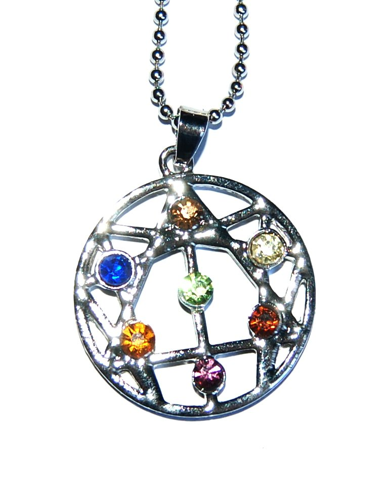 Pretty Crystal Chakra Colours Open Star of David Pendant Silver Plated & Ch