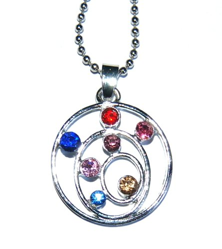 Pretty Crystal Chakra Colours Sacred Spiral  Pendant Silver Plated & Chain