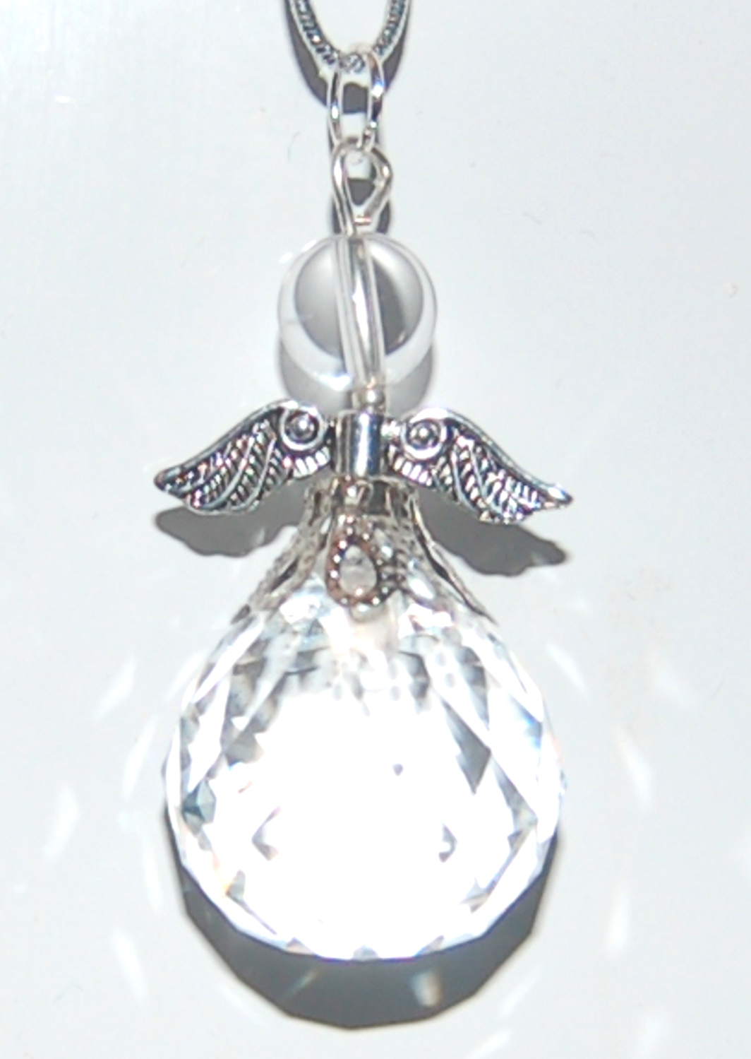Pretty Angel Suncatcher Facetted Crystal Xmas Tree Decoration Car or Bag Ch