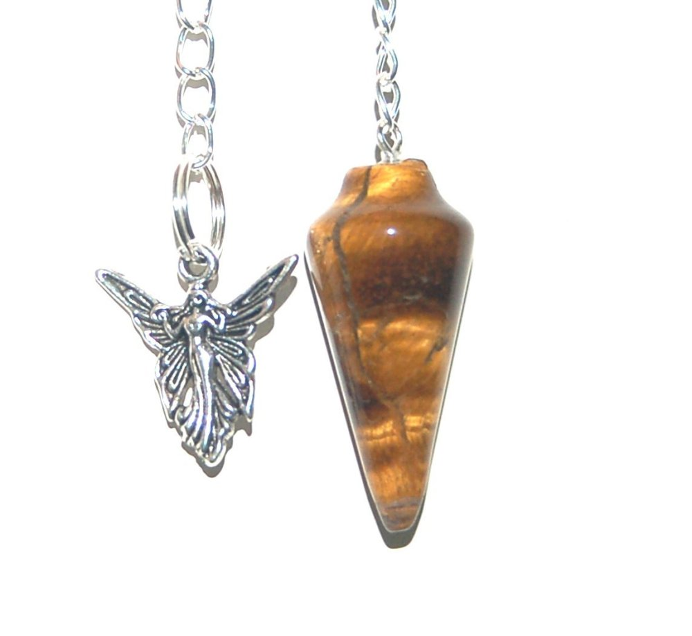 Tiger Eye  Crystal Pendulum Dowser with Small Chakra Set - Courage