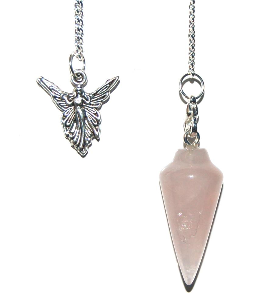 Rose Quartz  Crystal Pendulum Dowser with Small Chakra Set - Unconditional