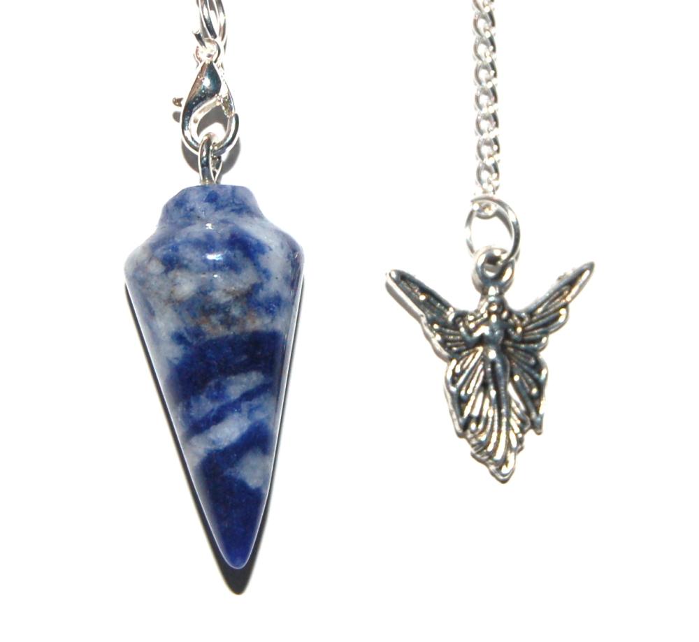 Sodalite Crystal Pendulum Dowser - Peace and Calm - small Sized Tumblestone Chakra Set Reiki  -Pouch and Image of Chakras