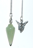 Aventurine Crystal Pendulum & Angel Charm Balance and Small Sized Tumblestone Chakra Set