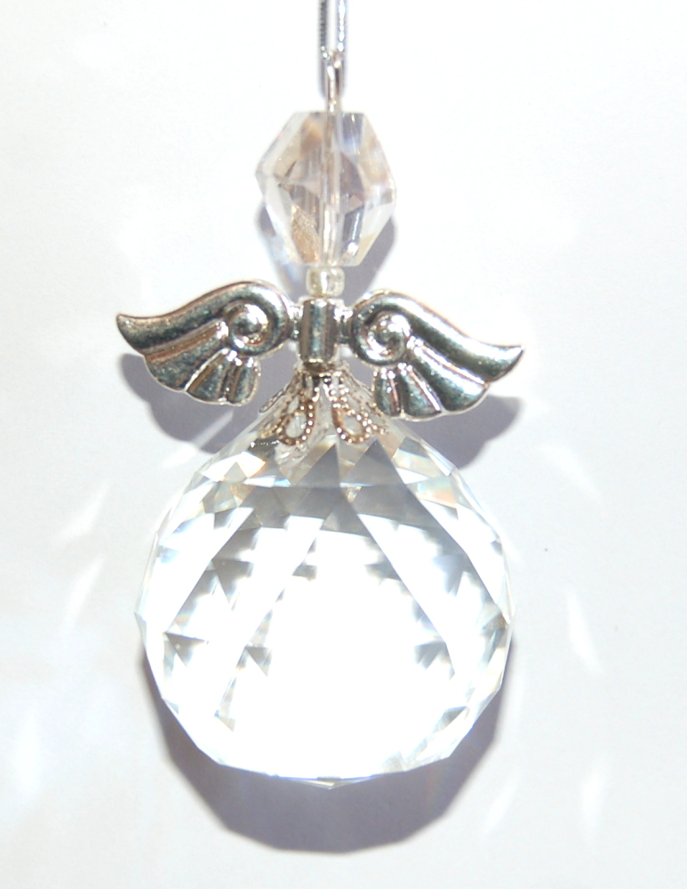 VERY LARGE Pretty Angel Suncatcher Facetted Crystal Xmas Tree Decoration Car or Bag Charm