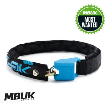 Hiplok LITE Wearable Chain Lock 6mm x 75cm - waist 24-44 inches (Bronze Sold Secure) Black / Cyan