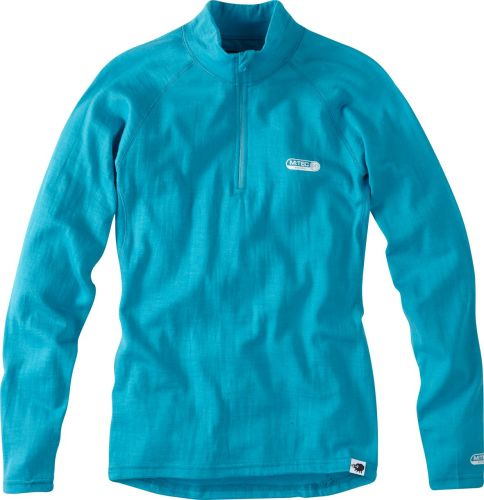 Madison Isoler Merino Womens Zip-neck Baselayer Aqua Blue