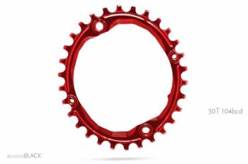 absoluteBlack 104BCD Spider Mount Oval Chainring Red 30T (bolts & Spacers inc.)