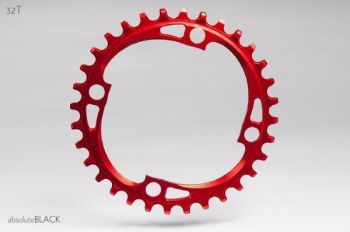 absoluteBlack 104BCD Spider Mount Oval Chainring Red 32T (Integrated Threads)