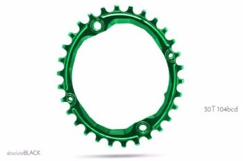 absoluteBlack 104BCD Spider Mount Oval Chainring Green 30T (bolts & Spacers inc.)