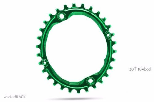 absoluteBlack 104BCD Spider Mount Oval Chainring Green 30T (bolts & Spacers