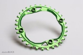 absoluteBlack 104BCD Spider Mount Oval Chainring Green 32T (Integrated Threads)