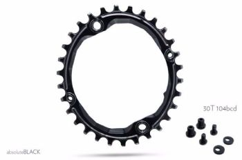 absoluteBlack 104BCD Spider Mount Oval Chainring Black 30T (bolts & Spacers inc.)