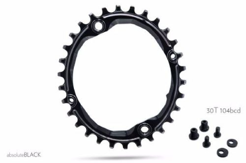 absoluteBlack 104BCD Spider Mount Oval Chainring Black 30T (bolts & Spacers