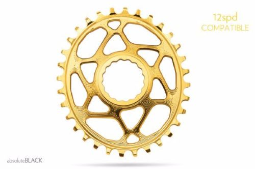 absoluteBlack Race Face Cinch Direct Mount Oval Chainring Gold 32T