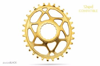 absoluteBlack Race Face Cinch Direct Mount Oval Chainring Gold 34T
