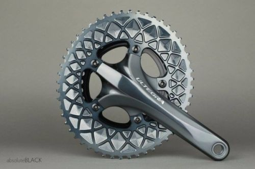 absoluteBlack 110BCD 5 Bolt Spider Mount Aero Oval Chainring Grey 50T