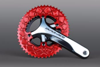 absoluteBlack 110BCD 4 Bolt Spider Mount Aero Oval Chainring Red 50T