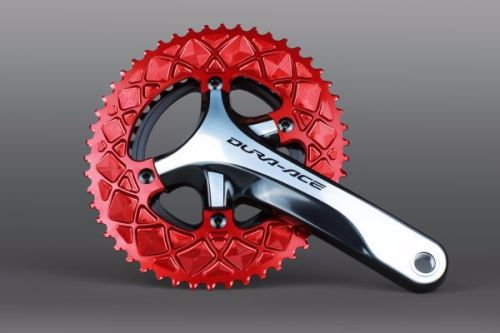 absoluteBlack 110BCD 4 Bolt Spider Mount Aero Oval Chainring Red 52T
