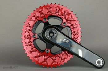 absoluteBlack Sram 110BCD 5 Bolt Spider Mount Aero Oval Chainring Red 52T