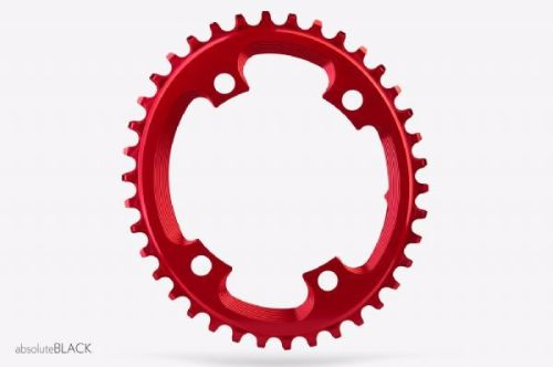 absoluteBlack CX 110BCD 4 Bolt Spider Mount Oval Chainring Red 38T