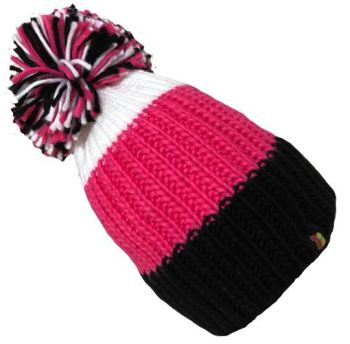 Big Bobble Hats - Black, Pink & White Bobble Hat