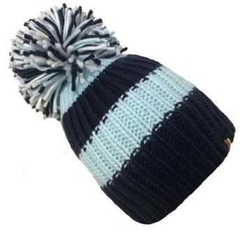 Big Bobble Hats - Blues And Twos - Navy and Light Blue Bobble Hat